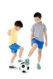Inclinações simples do arquivo do futebol boy Fotografia de Stock Royalty Free