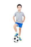 Inclinações simples do arquivo do futebol boy Fotografia de Stock