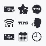Inclina iconos Efectivo con símbolo del dinero de la moneda Fotografía de archivo
