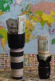 Inclina-se e fotos: ganhe o dinheiro em photostocks Imagens de Stock Royalty Free