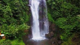 Inclinación aérea del estilo de la grúa abajo encima del tiro con el abejón sobre la cascada hermosa del paraíso de Bali y de la  almacen de video