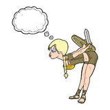 inclinación de la muchacha de vikingo de la historieta con la burbuja del pensamiento Foto de archivo libre de regalías