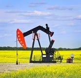 Inclinando-se a bomba de petróleo nas pradarias fotografia de stock