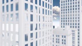 Inclinazione bianca astratta del grattacielo sul colpo archivi video