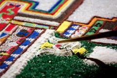 Inclinazione della mandala del Tibet dalla sabbia colorata Fotografie Stock Libere da Diritti