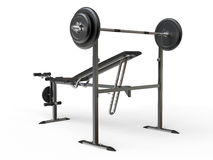 Incline bench with barbell weight - rear perspective view royalty free stock image