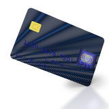 Inclined blue black credit card Royalty Free Stock Photography