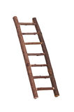 Inclined brown wooden handmade ladder Royalty Free Stock Photography