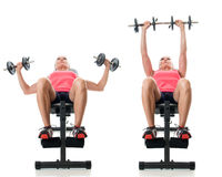 Inclined Dumbbell Bench Press Royalty Free Stock Photos