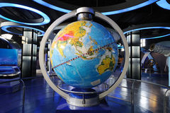 Inclined magnetically levitated globe stock photo