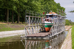 The Inclined Planes and carriage in Buczyniec, Buchwalde, Elblag Canal. Ships transported over hills, the exceptional solution in entire world. Unesco memorial Stock Photography