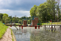 The Inclined Planes and carriage in Buczyniec. Elblag Canal. The Inclined Planes and carriage in Buczyniec, Buchwalde, Elblag Canal, ships transported over Stock Photography