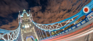 Inclined view of beautiful Tower Bridge at night, London Stock Photography