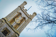 Inclined view of a tower of a church in Norwich, England Royalty Free Stock Photos