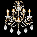 Included sconces with crystal pendants on black Royalty Free Stock Image
