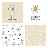 Set of creative Christmas cards with snowflakes, seamless patterns and hand drawn lettering. Very Merry Christmas. Template for gr Royalty Free Stock Photos