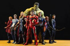 Including MARVEL Super Heroes models. BANGKOK THAILAND - MAY 04,2019 : Including MARVEL Super Heroes models ,superheroes figure in action in home at Bangkok stock photo