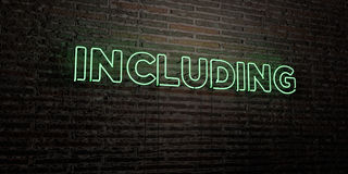 INCLUDING -Realistic Neon Sign on Brick Wall background - 3D rendered royalty free stock image Stock Photos