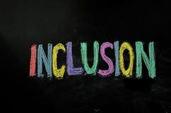 Inclusion écrite sur le tableau photo stock