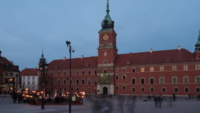The inclusion of illumination in the old town. In Warsaw stock video footage