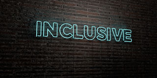 INCLUSIVE -Realistic Neon Sign on Brick Wall background - 3D rendered royalty free stock image Stock Photo