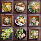 Incluyendo sistema sano de la ensalada de las comidas ensalada de fruta, tocino del jamón, salmones, Fotos de archivo libres de regalías