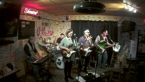 Incognito Cartel Live at Bobbys Idle Hour, performing Barely See the Road 1 stock video footage