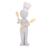 Incognito cartoon cook with spoon and fork Stock Photo