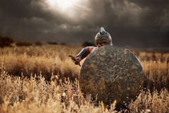 Incognito warrior going forward in attack. Royalty Free Stock Photography