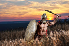 Incognito warrior like antique roman soldier. Royalty Free Stock Image