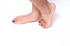 Incognito woman feet. Pedicure concept Stock Image