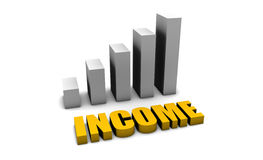 Income. Personal Income in 3d with Bar Graph Chart stock illustration