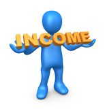 Income. 3d person holding the word income royalty free illustration