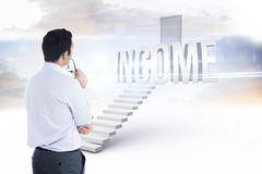 Income against white steps leading to closed door Stock Photography