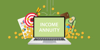 Income annuity illustration with text on laptop display with business icon money gold coin falling from sky and graph Royalty Free Stock Photos