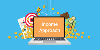 Income approach illustration with text on laptop display with business icon money gold coin falling from sky and graph Royalty Free Stock Photo