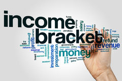 Income bracket word cloud concept Royalty Free Stock Photography