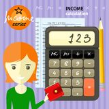 Income calculation concept. Savings, finances, economy in home concept close up of woman with purse near calculator counting money and making notes cartoon Royalty Free Stock Photography