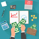 Income concept. flat design Royalty Free Stock Photography
