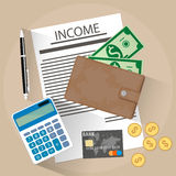 Income concept flat style. Income concept. Calculator, wallet with cash and coins, credit card, pen on desk. Vector illustration in flat design Stock Photo