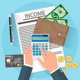 Income concept, hands with calculator Stock Image