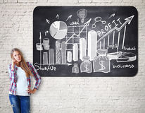 Income concept. Thoughtful caucasian girl on white brick background with creative financial sketch on chalkboard. Income concept stock photography