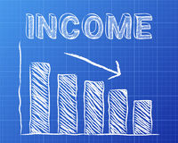 Income Down Blueprint. Decreasing graph and income word on blueprint background Royalty Free Stock Photography