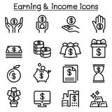 Income , Earning , Money icon set in thin line style. Vector illustration graphic design Royalty Free Stock Photography
