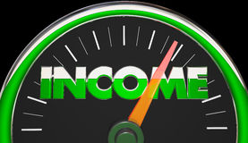 Income Earnings Salary Wages Raise Speedometer. 3d Illustration Stock Image