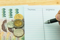 Income & expense. Note, financial concept Royalty Free Stock Photo