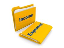 Income and expenses folders. 3d illustration of yellow income and expenses folders, white background Royalty Free Stock Images