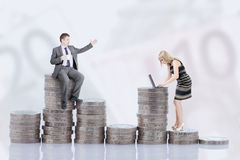 Income and gender. Income difference between males and females royalty free stock photography