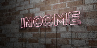 INCOME - Glowing Neon Sign on stonework wall - 3D rendered royalty free stock illustration Stock Photography