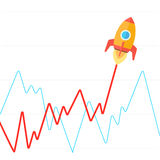 Income graph go up like rocket flat vector. Income graph go up like rocket flat style vector illustration. Growing up as a rocket takes off metaphor stock illustration